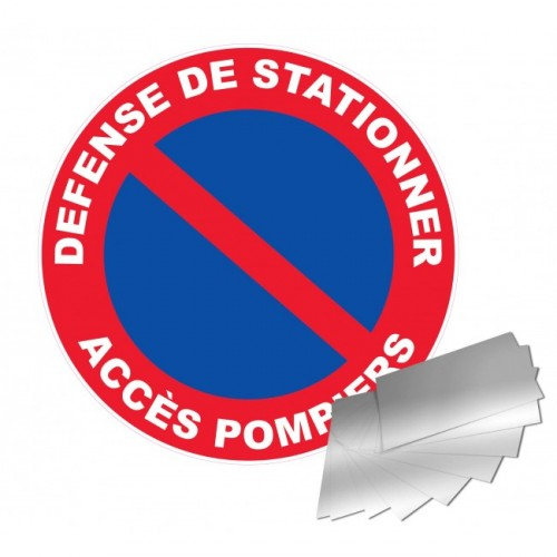 Panneau DEFENSE DE STATIONNER ACCES POMPIERS alu 1 mm 300 mm