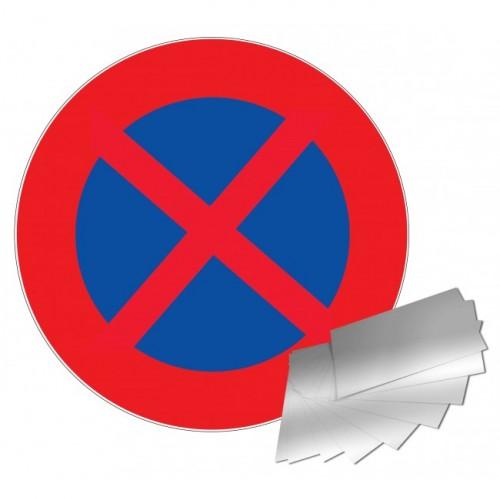 Panneau DEFENSE DE S'ARRETER ET DE STATIONNER alu 1 mm diam 300 mm
