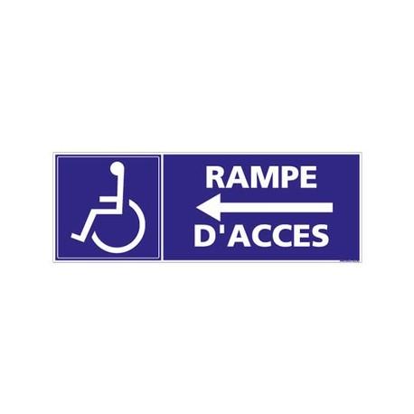 PANNEAU RAMPE D'ACCES FLECHE A GAUCHE alu 350 x 125 mm
