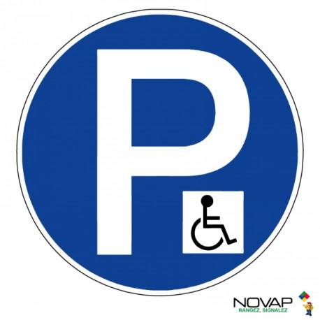 Panneau de signalisation - Parking réservé handicapés