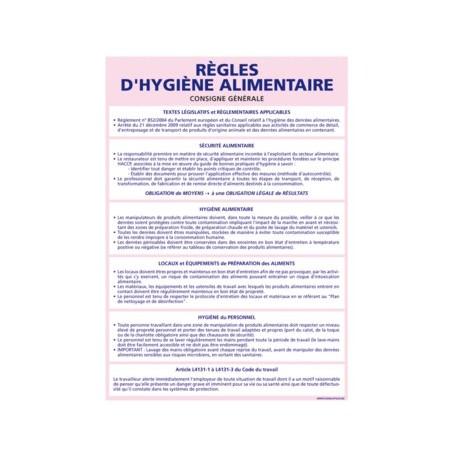 Panneau des RÈGLES D'HYGIÈNE ALIMENTAIRE alu 2 mm 300 x 420 mm