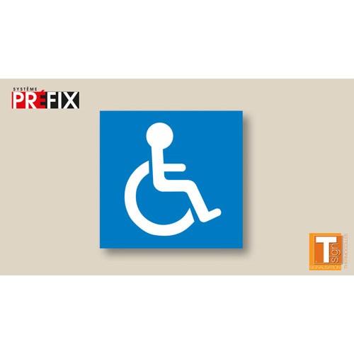 Symbole handicapé parking PMR blanc fond bleu thermocollé - T SIGN