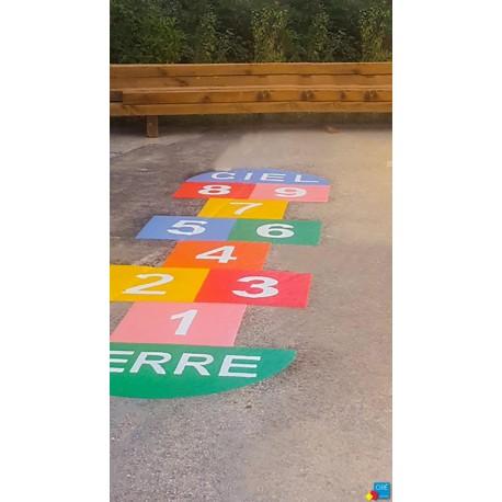 Jeu T-LUDO - Jeu au sol thermocollé - Grande marelle 9 cases de 7 couleurs
