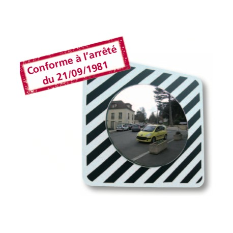 Inox - Miroir rond 1010 x 200 x 1010 mm routier incassable