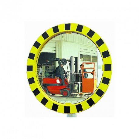 Miroir Polymir rond pour industries avec cadre jaune et noir