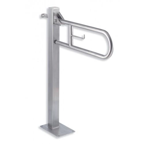 Barre d'appui relevable avec pied de soutien - Inox
