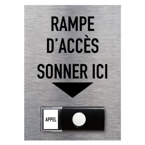 """Carillon Aluminium brossé """"Rampe d'accès sonner ici"""" – Accessibilité 150 x 210 mm"""