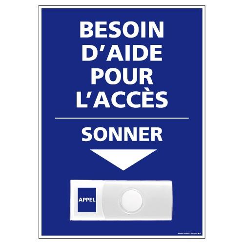 """Carillon PVC """"Besoin d'aide pour l'accès"""" – Accessibilité 150 x 210 mm"""