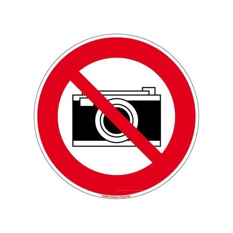 Panneau APPAREIL PHOTO INTERDIT alu 2 mm  Diam. 250 mm