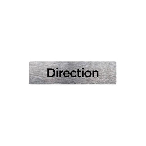 PLAQUE DE PORTE DIRECTION alu brossé 170 x 50 mm