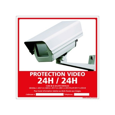 PANNEAU PROTECTION VIDEO 24H/24H alu 350 x 350 mm