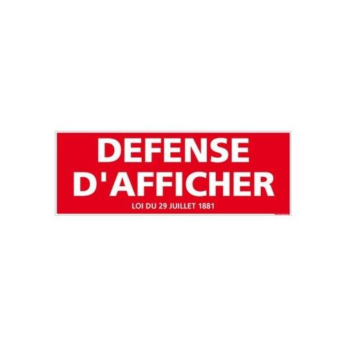 PANNEAU DEFENSE D'AFFICHER AVEC LOI alu 2 mm 350 x 125 mm