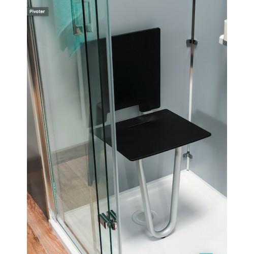 Siège de douche fixe avec dosseret repliable