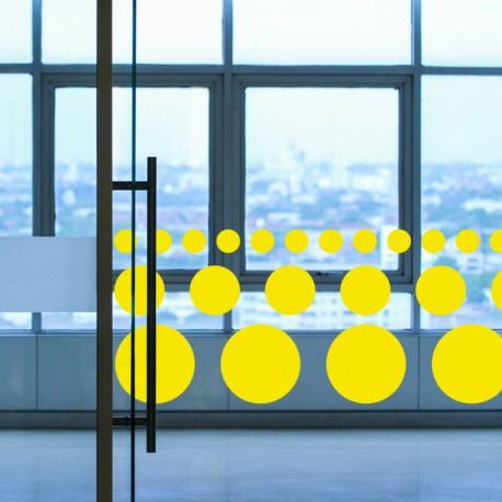 Bandes adhésives pour repérage des portes vitrées 52 mm - Ronds rouge