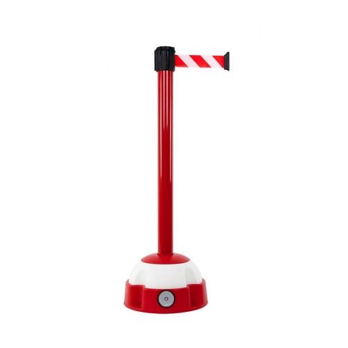 Poteau de guidage 3 m x 50 mm laqué rouge à sangle rayée socle balise