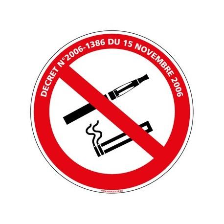 PANNEAU INTERDICTION DE FUMER ET DE VAPOTER AVEC LOI alu Diam. 250 mm
