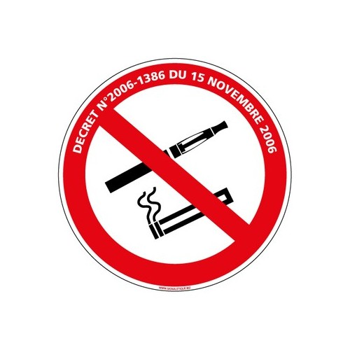 PANNEAU INTERDICTION DE FUMER ET DE VAPOTER AVEC LOI alu Diam. 350 mm