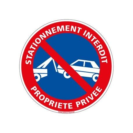 PANNEAU STATIONNEMENT INTERDIT PROPRIETE PRIVEE