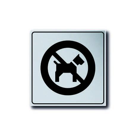 Plaquette plexiglas classique argent - Interdit aux chiens