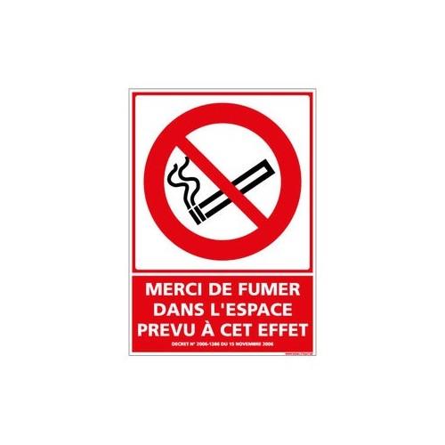 Visuel Merci de fumer dans l'espace prévu à cet effet alu 2 mm 300 x 420 mm