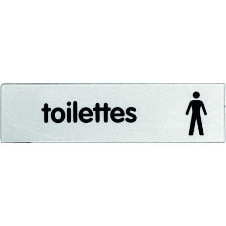 Plaquette plexiglas classique argent - Toilettes hommes