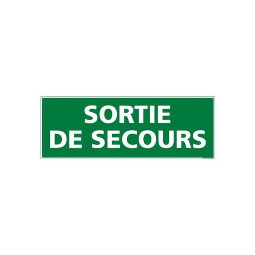 Panneau SORTIE DE SECOURS alu 350 x 125 mm