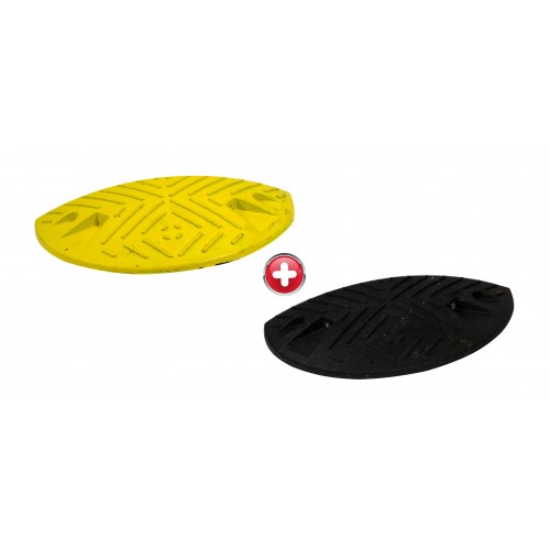 Ralentisseur parking - kit de 2 modules 60 mm 1/2 ronds noirs et jaunes