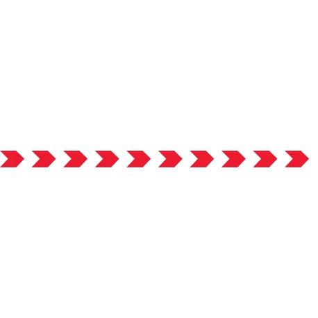 Bandes adhésives pour repérage des portes vitrées 52 mm - chevrons rouge