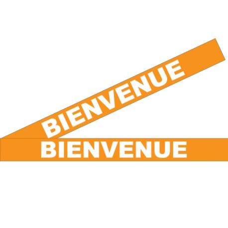 """Bandes adhésives pour repérage des portes vitrées 100 mm - """"Bienvenue"""" orange"""