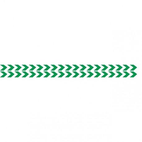 Bandes adhésives pour repérage des portes vitrées 100 mm - Double chevrons vert